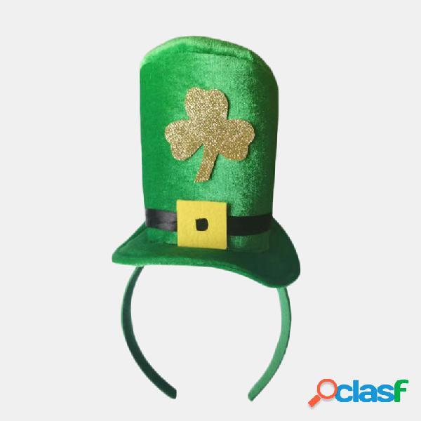 Trança torção laranja do dia de são patrício chapéu headband veludo verde alto chapéu shamrock cabelo acessórios