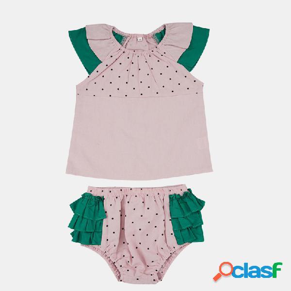 Baby dot print flying sleeves casual rosa conjunto para 3-24m