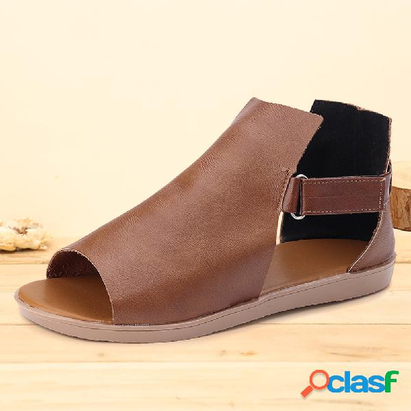 Boca de peixe minimalista de mulheres gancho loop rome flat sandals