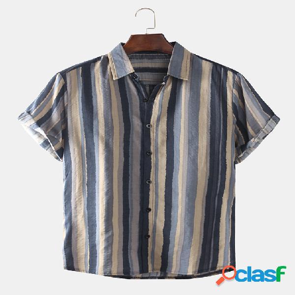 Camisas masculinas com estampa de gola virada para baixo de manga curta