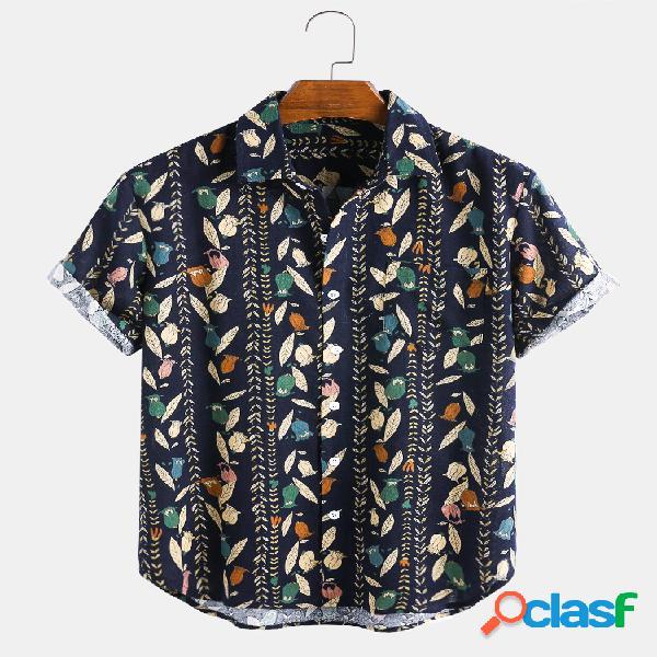 Camisas masculinas com estampa de listras de flores étnicas e bolso no peito de manga curta