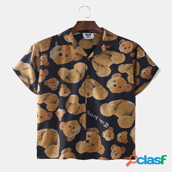 Camisas masculinas com estampa de urso de pelúcia e manga curta