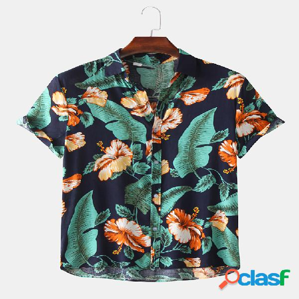 Camisas masculinas hawaiian tropical planta com estampa floral de manga curta