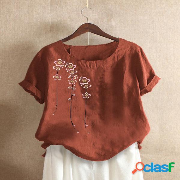 Camiseta com estampa floral de manga curta com decote em o