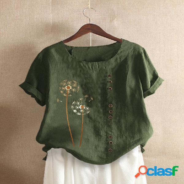Camiseta de manga curta com estampa casual com gola redonda