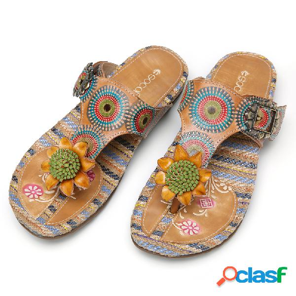 Socofy bohemia floral buckle strap flip flop thongs sandálias alpargatas