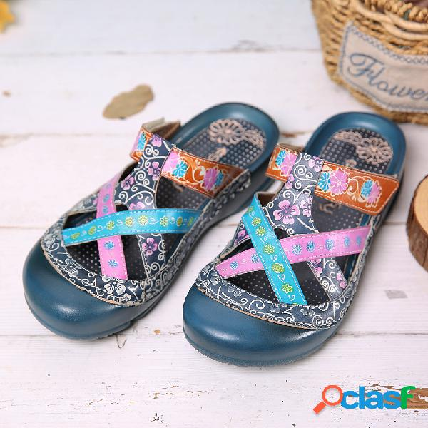 Socofy floral couro entrecruzando alça ajustável slip-on mules tamancos slides flat sandálias