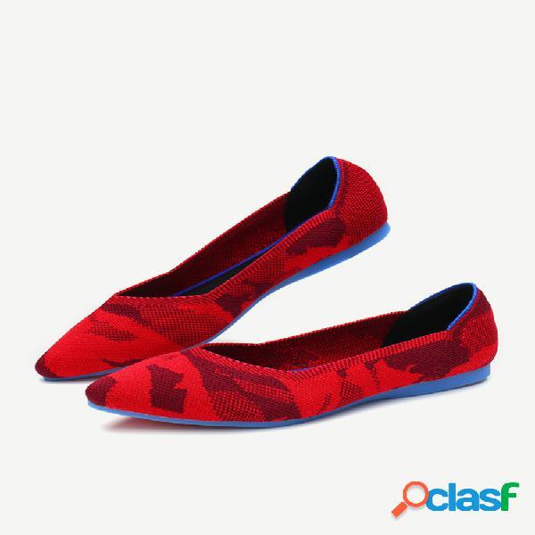 Tamanhos grandes femininos com bico fino tricô sapatos baixos casuais vamp