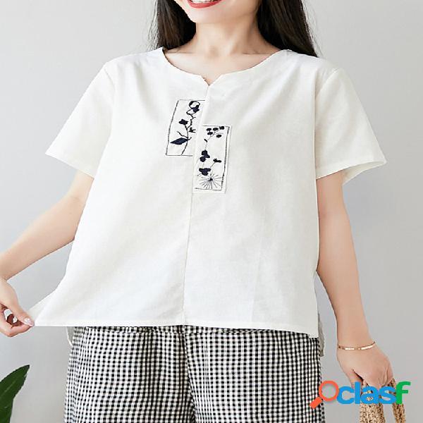 Bordado manga curta loose casual t-shirt para as mulheres