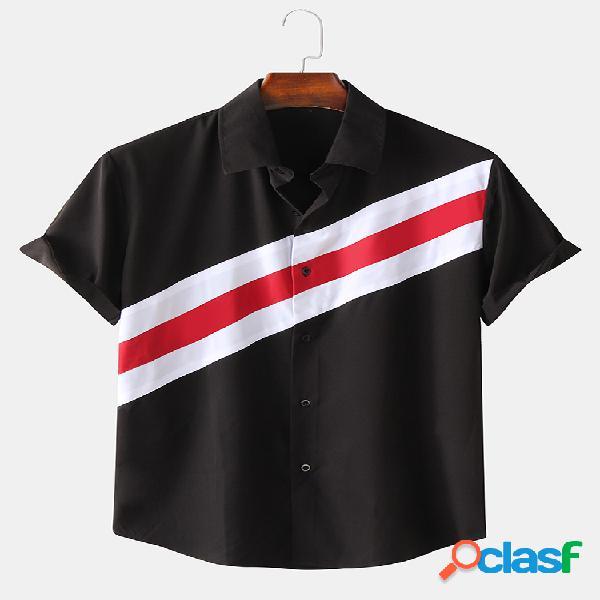 Camisas masculinas de cor contrastante patchwork respirável de manga curta