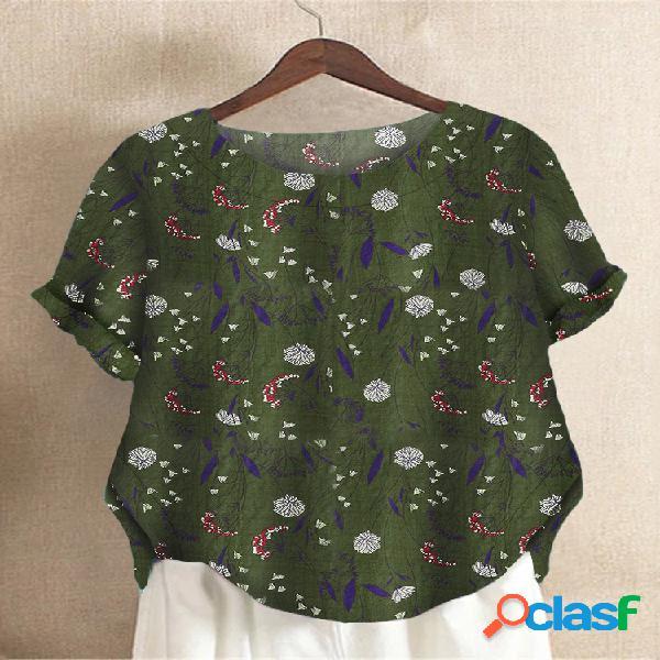 Camiseta com estampa floral crewneck tamanho plus