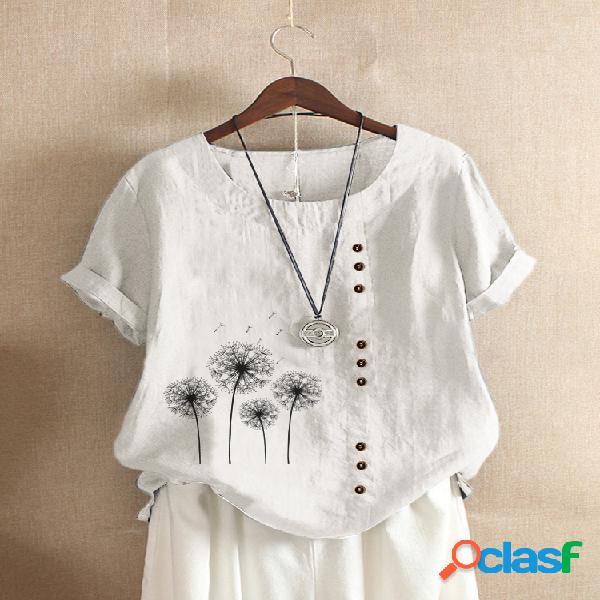 Camiseta feminina com estampa floral de manga curta