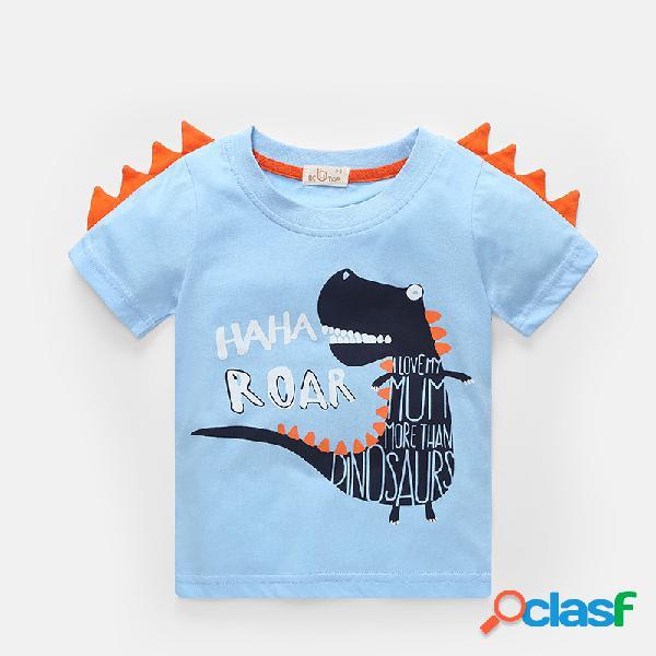 Carta dos desenhos animados do menino dinossauro imprimir verão camiseta de manga curta casual para 2-10a