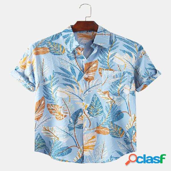 Mens tropical leaves floral impresso holiday casual manga curta floral camisa