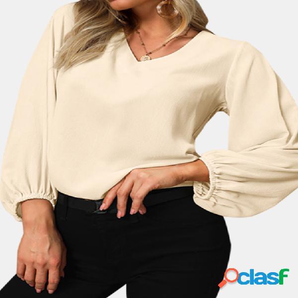 Blusa com decote em v solta plus blusa de tamanho