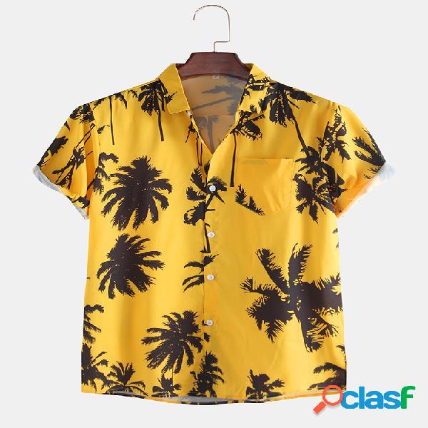 Camisas de manga curta com estampa tropical masculina e bolso no peito com gola virada para baixo