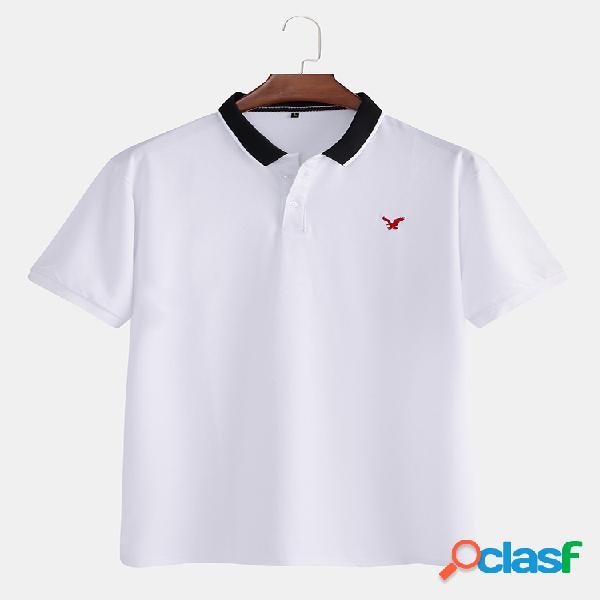 Homens 100% algodão cor bloco patchwork manga curta camisa