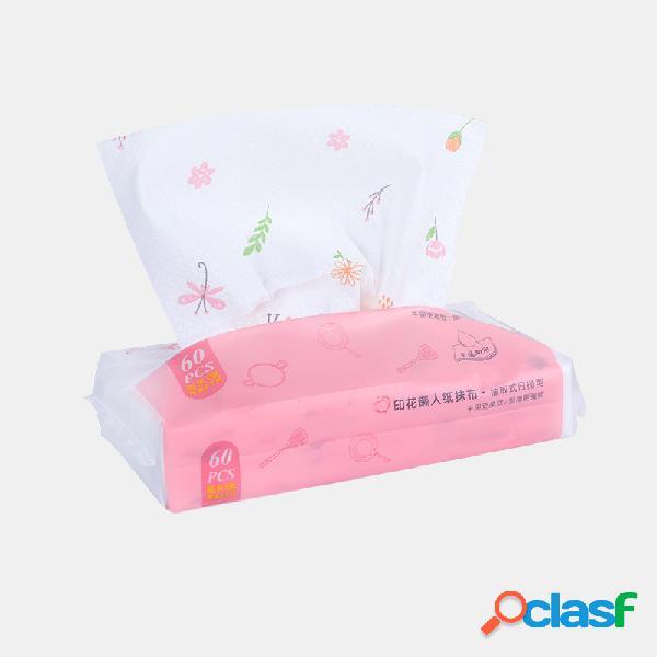 60 bombeamento / pacote impresso descartável não-tecido extração de pano toalhetes molhados e secos toalhas de cozinha