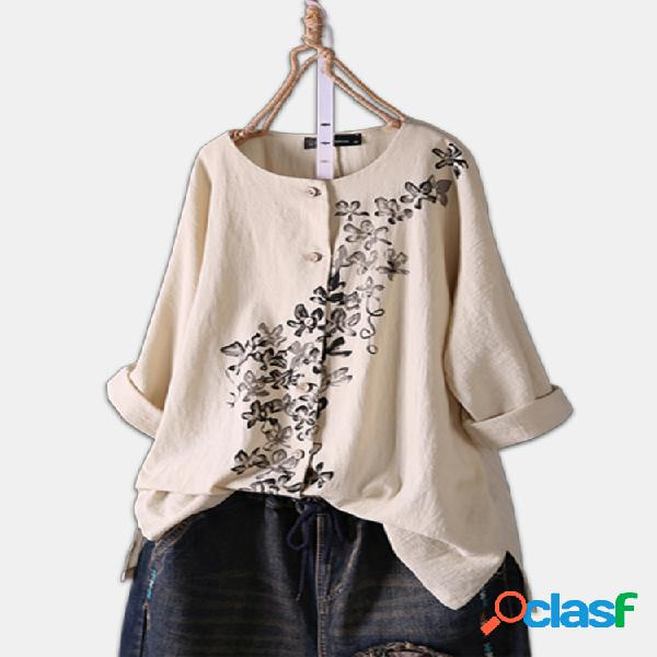 Blusa com estampa floral vintage de manga comprida dividida plus tamanho