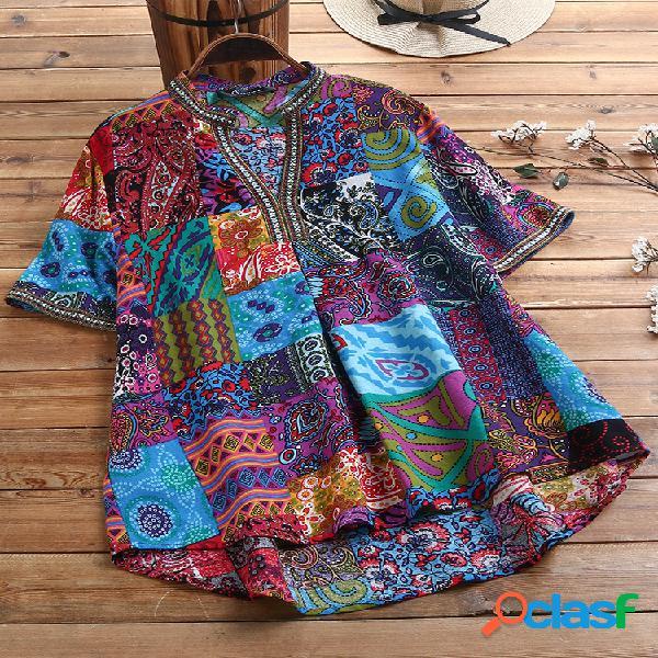 Estampa floral estilo étnico vintage plus tamanho algodão camisa