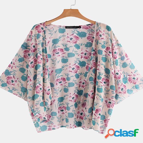 Kimono casual de estampa floral plus para mulheres
