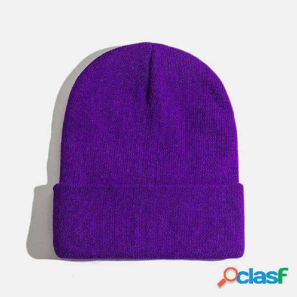 Lã de malha de cor sólida unisex chapéu caveira cap beanie caps