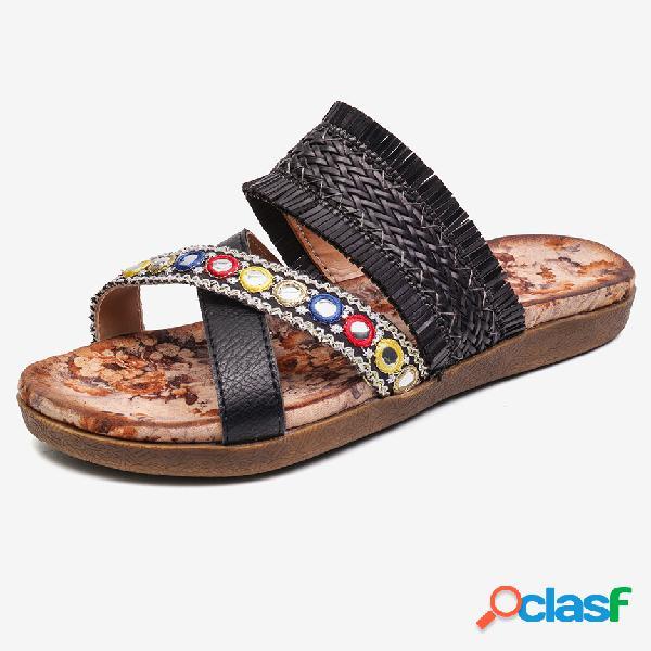 Lostisy cross strap tassel chinelos de malha peep toe slip on praia sandálias