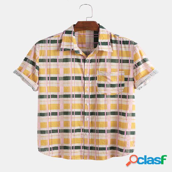 Mens algodão respirável xadrez casual lapela manga curta camisa