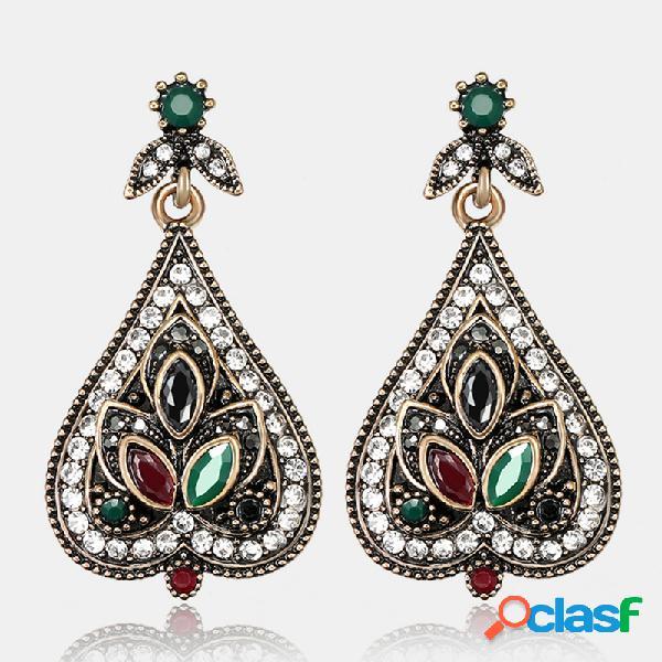 Pêssego de cristal geométrico vintage coração brinco de strass de metal pingente brincos jóias étnicas