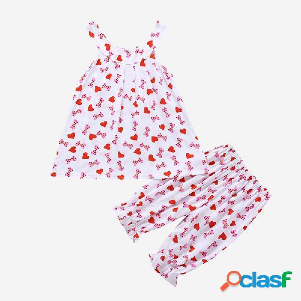 Rosa love-hearts da menina imprimir conjunto de roupas casuais sem mangas para 3-8a