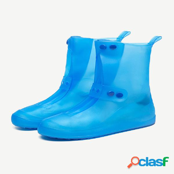 Unissex engrossar à prova d 'água resistente ao deslizamento transparente sapatos de chuva protetor