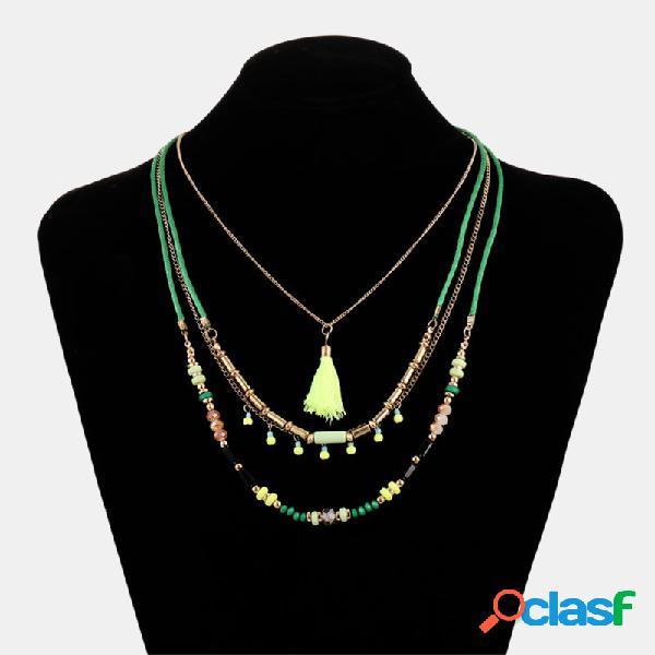 Borla irregular boêmio colorido mão-frisado borla pingente colar multi-camada de jóias étnicas