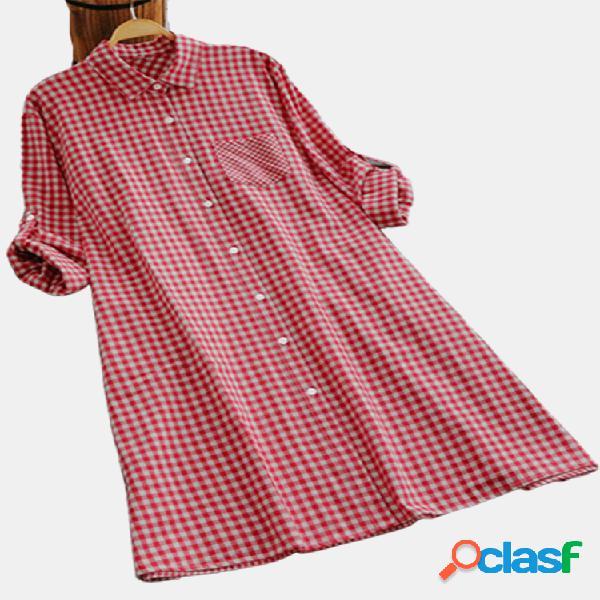 Botão de lapela xadrez casual plus tamanho longo camisa