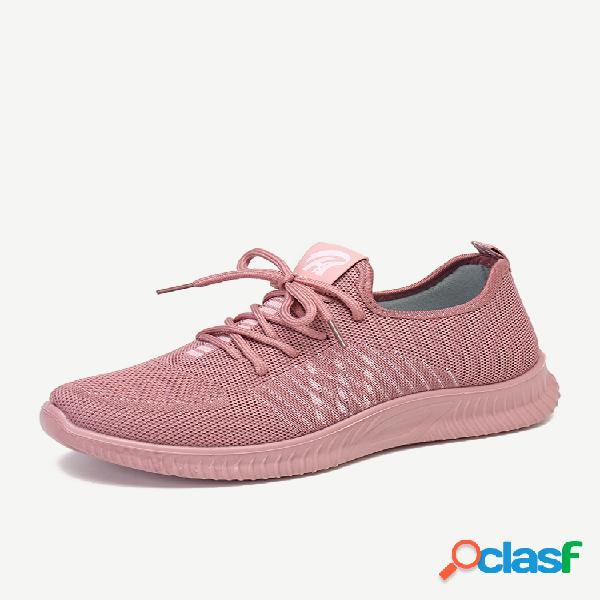 Calçados femininos de malha leve soft com cordões tênis casuais