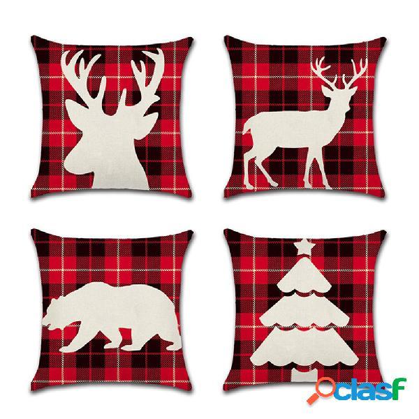 Clássico malha vermelha elk série natal linho almofada caso casa sofá capa de almofada decoração