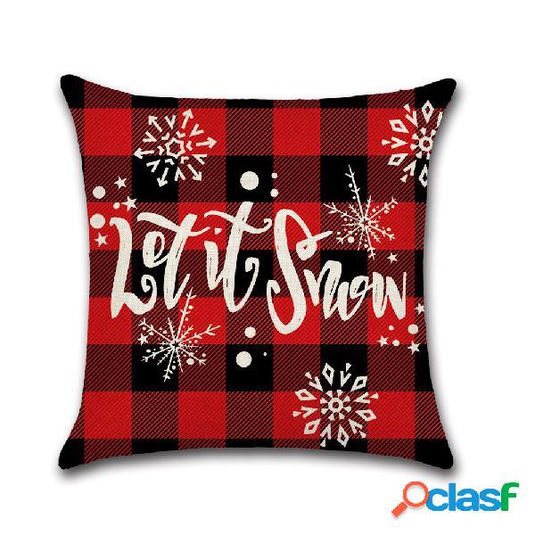 Clássico malha vermelha natal série santa capa de almofada de linho sofá de casa almofadas decoração