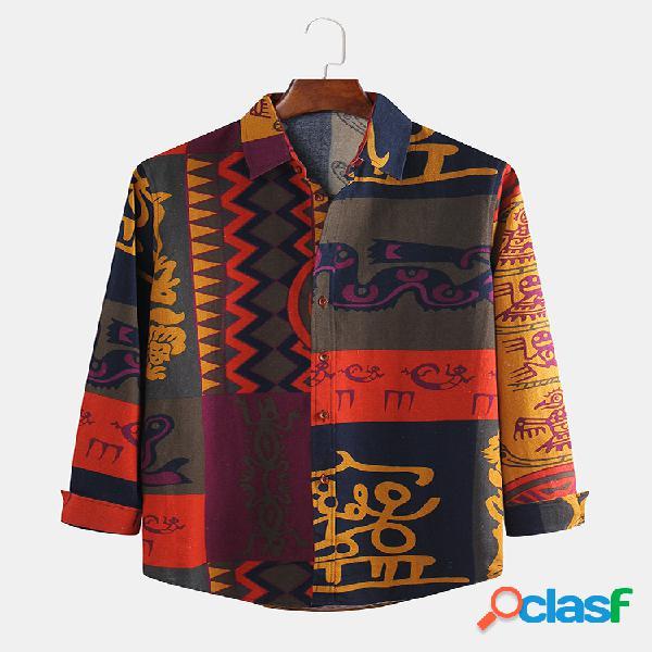 Estampa masculina étnica floral mix padrões geométricos slim camisa