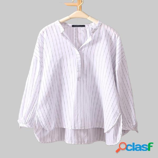 Manga comprida com decote em v listrado solto plus tamanho irregular camisa
