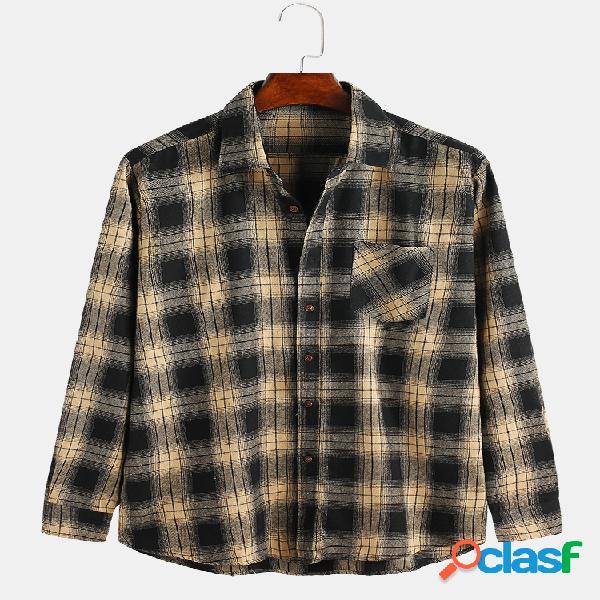 Mens bolsos de peito de estilo britânico xadrez casual turn down collar camisas de manga longa