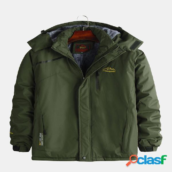 Mens windproof warm casual solid color manga comprida stand collar jacket