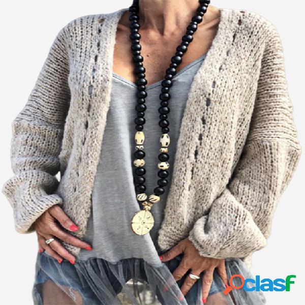 Cardigan irregular de manga comprida oco de cor sólida para mulheres
