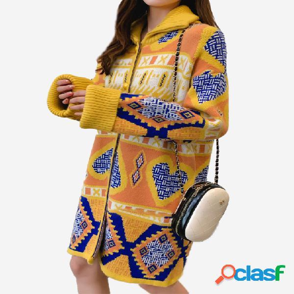 Lapela étnica impressão patchwork manga comprida cardigan para mulheres