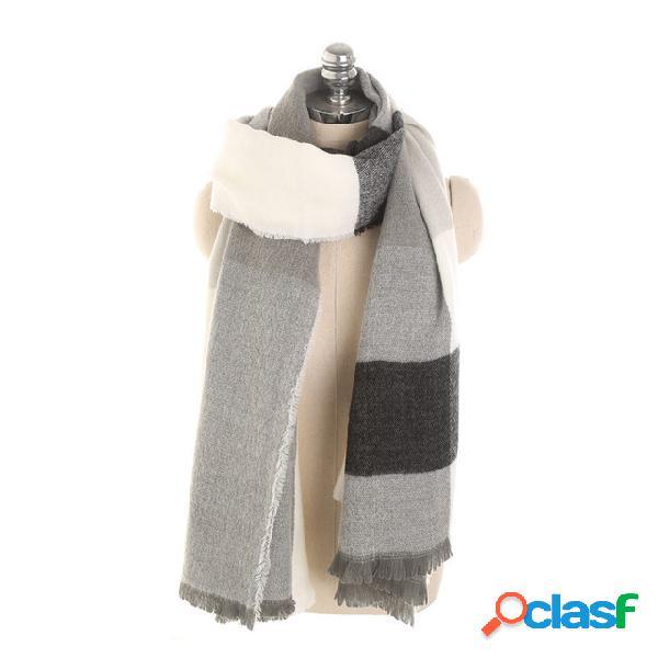 Lenço de cashmere quente listrado para mulher padrão