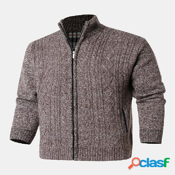 Mens Cotton Plain Classical Solid Color Knitting Stand Cardigans