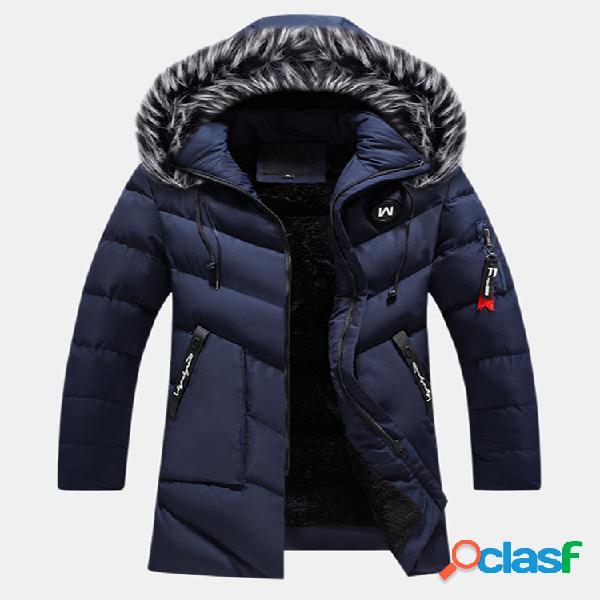 Mens outdoor windproof earphone design casacos com capuz forrado de lã