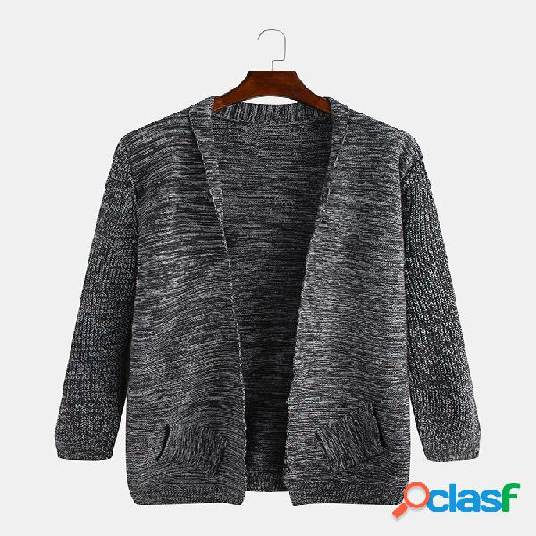 Mens plain style solid color knitting bolsos laterais cardigans longos