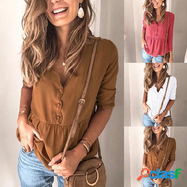 Nova cor sólida das mulheres europeias costura solta de mangas compridas camisa om9152