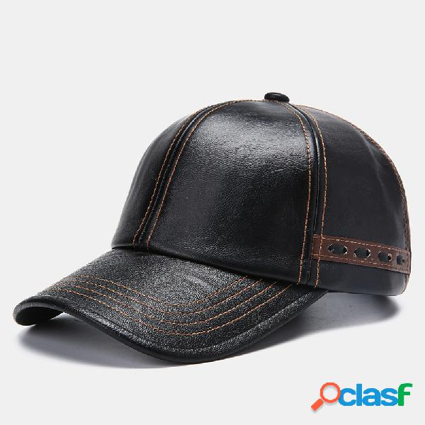 Personalidade de boné de beisebol vintage de couro artificial masculino com tecido chapéu