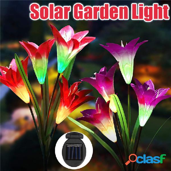 2 pcs 4led energia solar lily flower stake light multicolor mudando lâmpadas de jardim ao ar livre à prova d 'água
