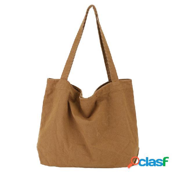 Bolsa de ombro de cor sólida leve de grande capacidade para mulheres bolsa